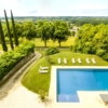 L'Orangerie Duras: View from the tower across the pool & Dropt Valley